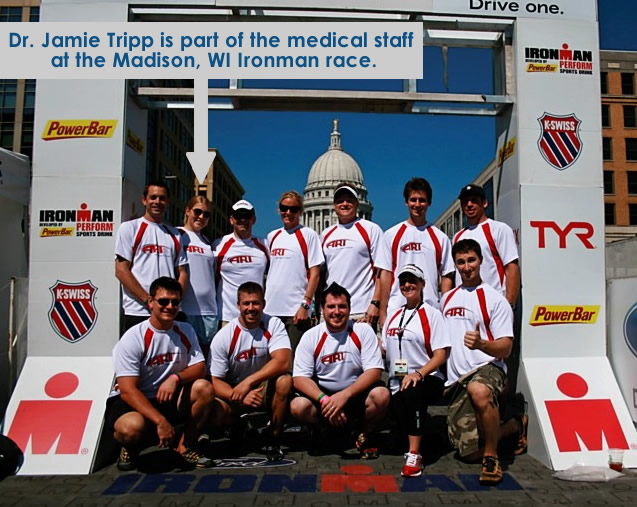 Dr. Jamie Tripp uses ART to treat ironman participants in Madison, WI